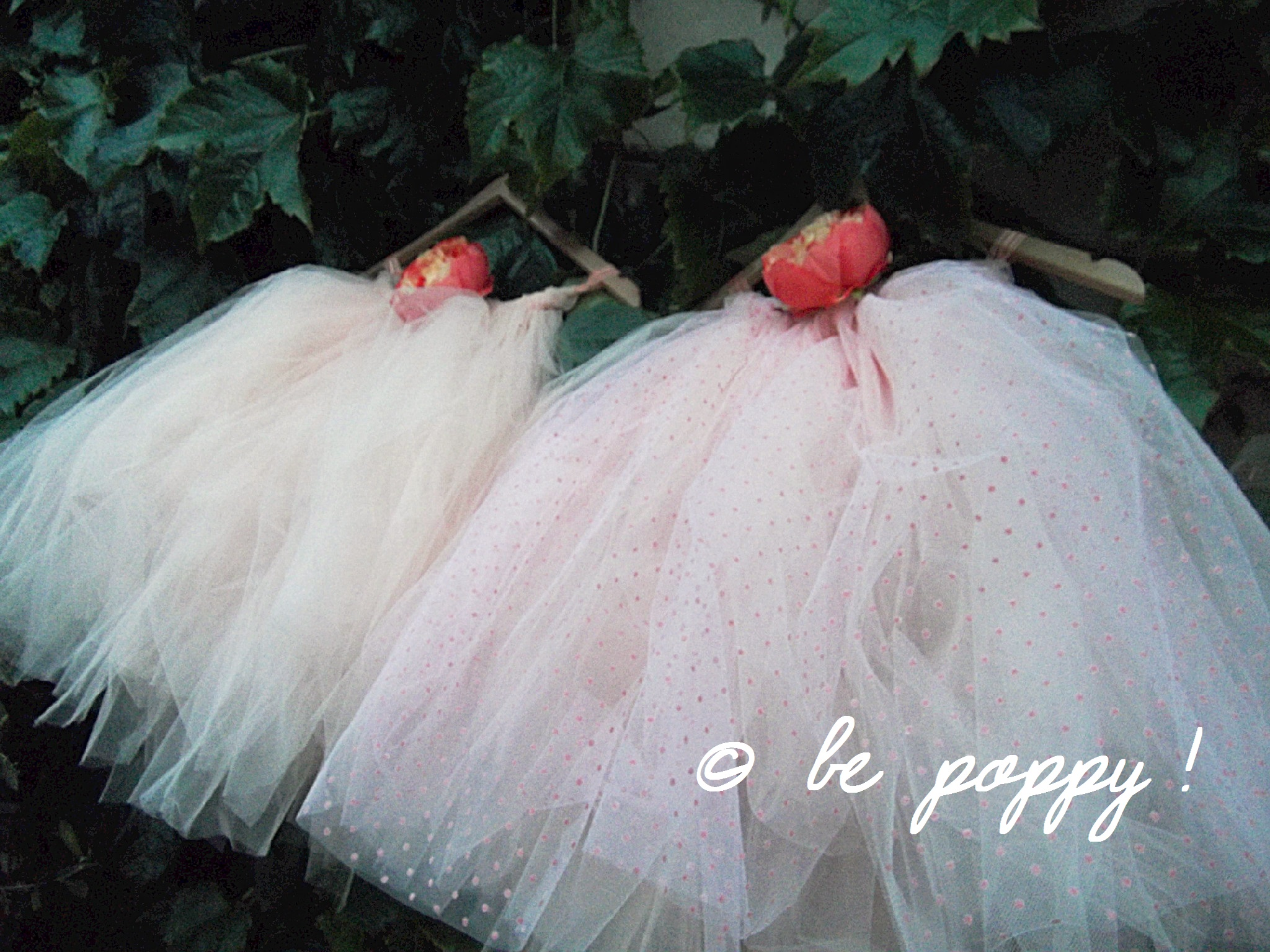 Two of 'be poppy !'s short style tutus in Apricot colour